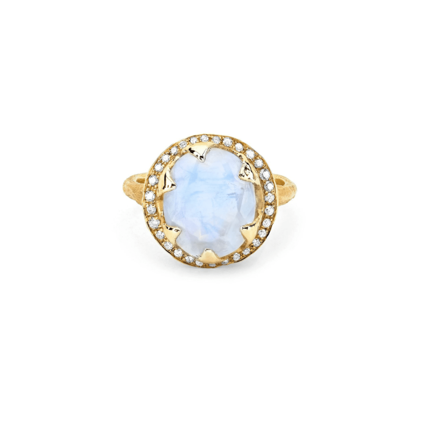 Baby Queen Oval Moonstone Ring with Full Pavé Diamond Halo