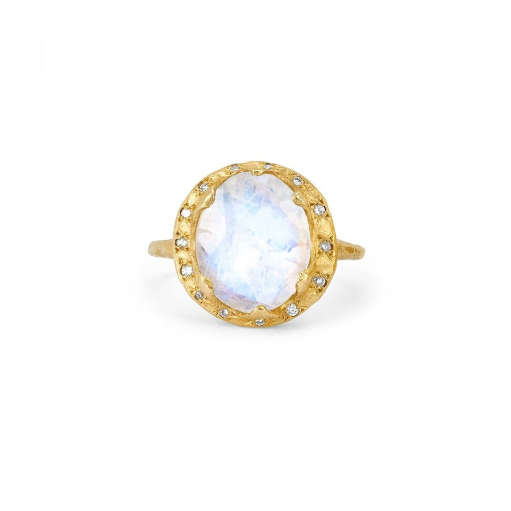 Baby Queen Oval Moonstone Ring with Sprinkled Diamonds Baby Queen Oval Moonstone Ring with Sprinkled Diamonds