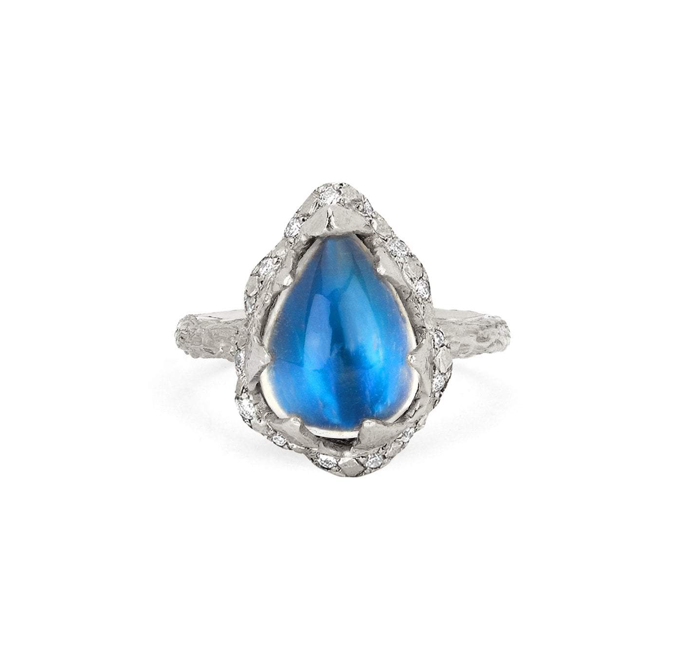 Baby Queen Water Drop Blue Sheen Moonstone Ring with Sprinkled Diamonds