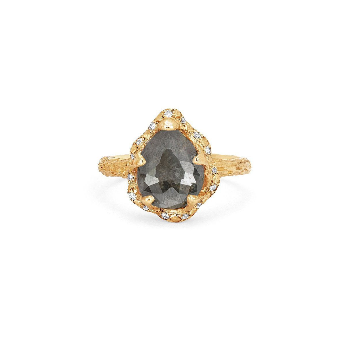 Baby Queen Water Drop Grey Diamond Ring with Sprinkled Diamonds