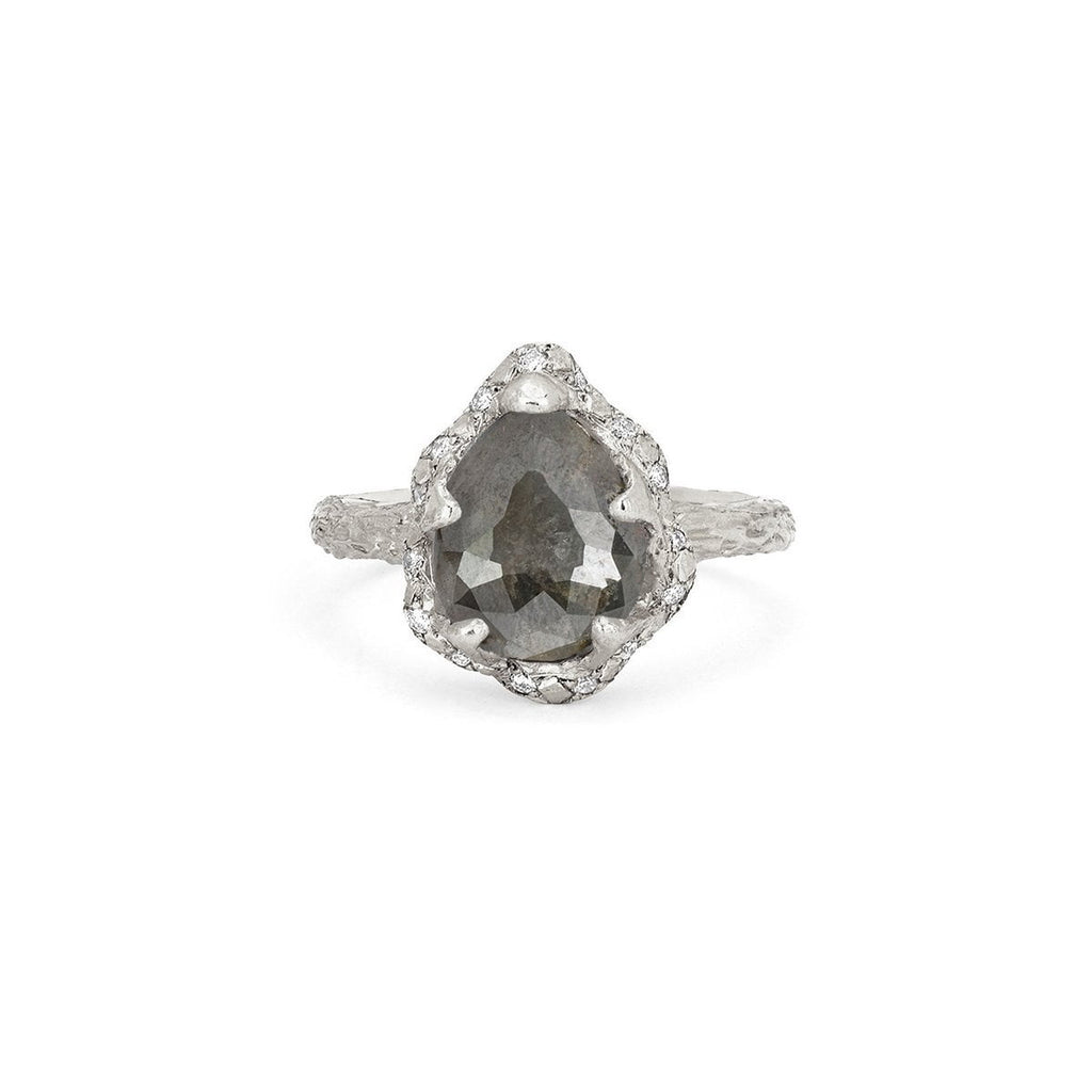 Baby Queen Water Drop Grey Diamond Ring with Sprinkled Diamonds Baby Queen Water Drop Grey Diamond Ring with Sprinkled Diamonds