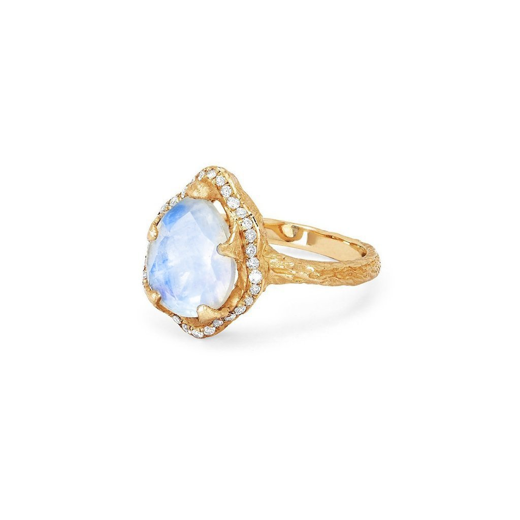 Baby Queen Water Drop Moonstone Ring with Full Pavé Diamond Halo