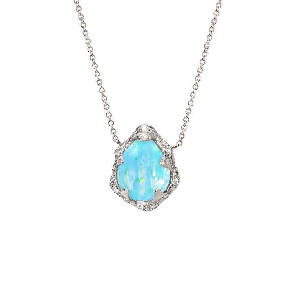 Baby Queen Water Drop Blue Opal Necklace with Sprinkled Diamonds