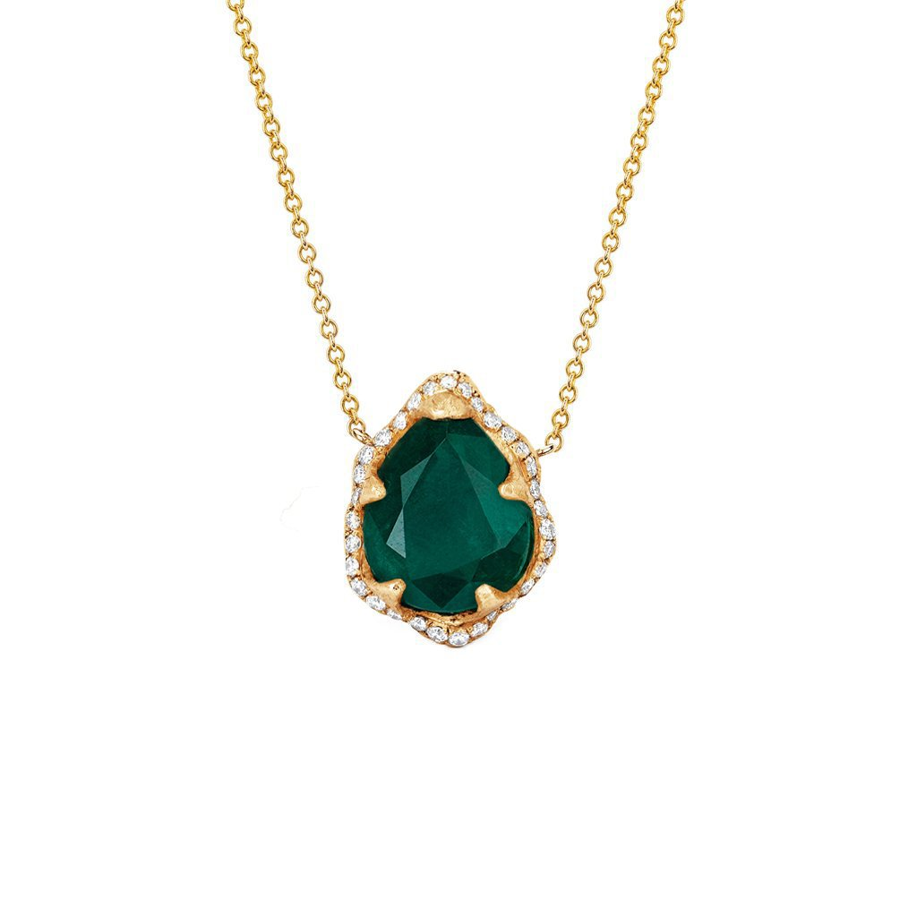 Baby Queen Water Drop Emerald Necklace with Full Pavé Halo Baby Queen Water Drop Emerald Necklace with Full Pavé Halo