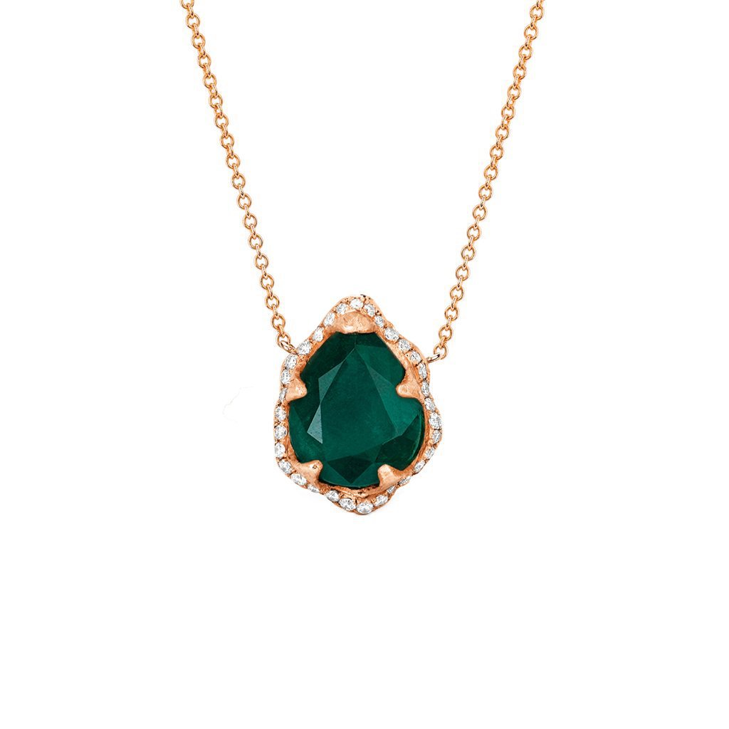 Baby Queen Water Drop Emerald Necklace with Full Pavé Diamond Halo Baby Queen Water Drop Emerald Necklace with Full Pavé Diamond Halo
