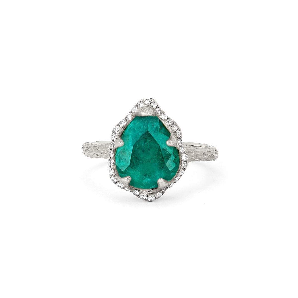 18k Baby Queen Water Drop Colombian Emerald Ring with Full Pavé Diamond Halo