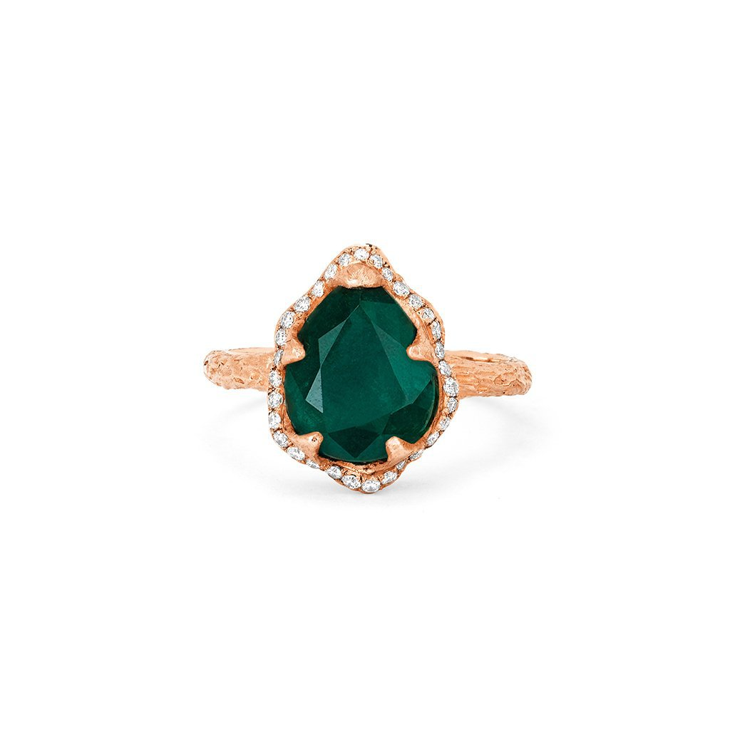 Baby Queen Water Drop Zambian Emerald Ring with Full Pavé Diamond Halo