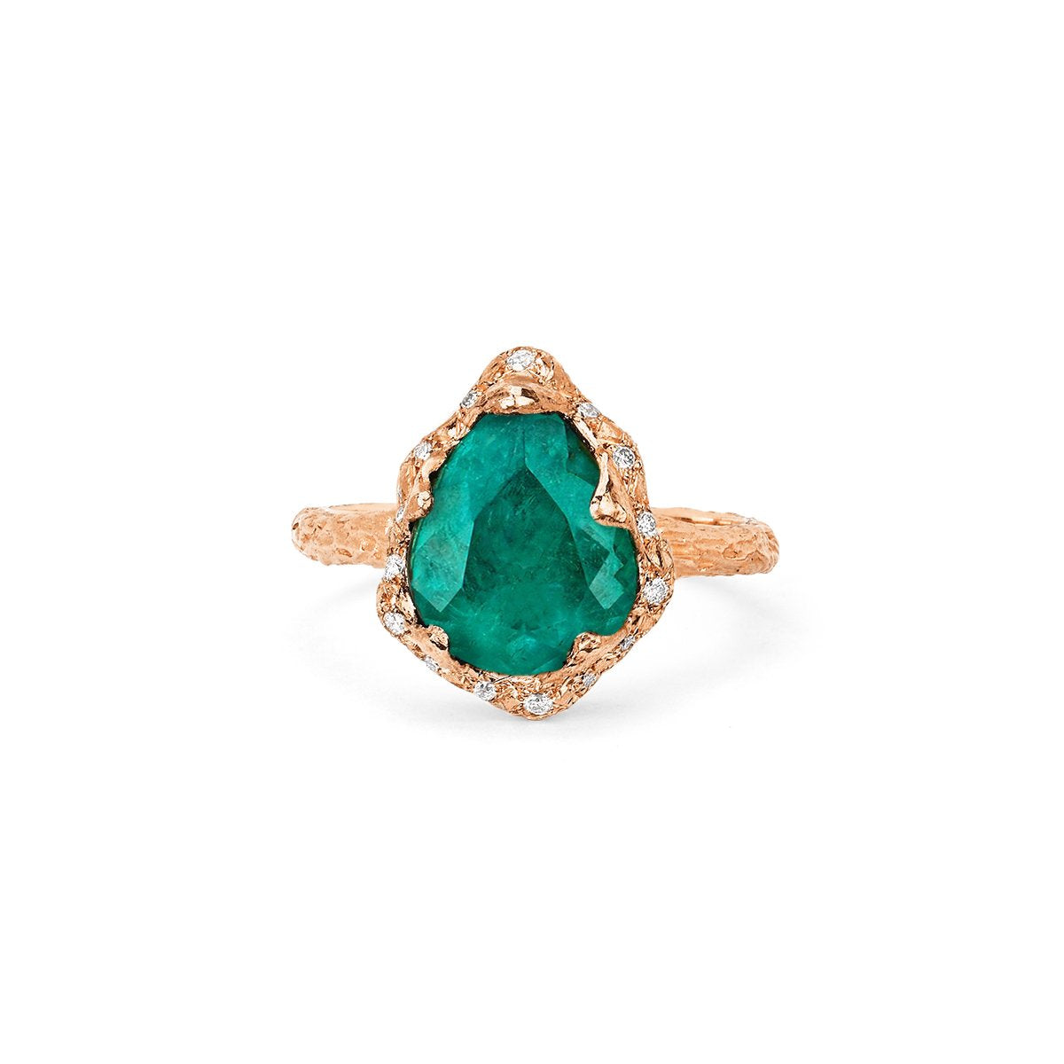 18k Baby Queen Water Drop Colombian Emerald Ring with Sprinkled Diamonds