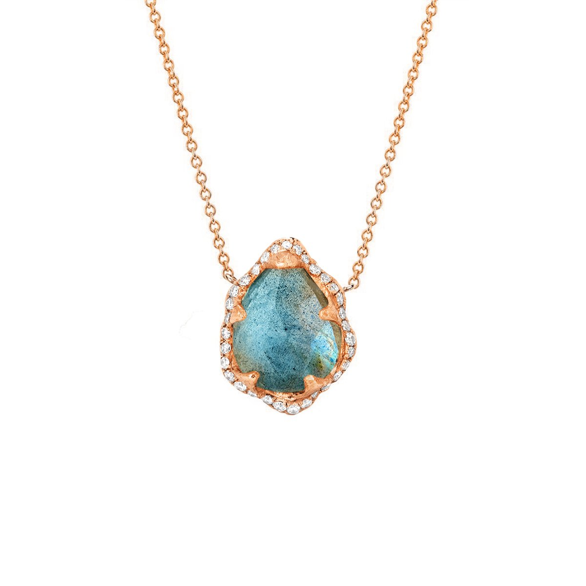 Baby Queen Water Drop Labradorite Necklace with Full Pavé Diamond Halo