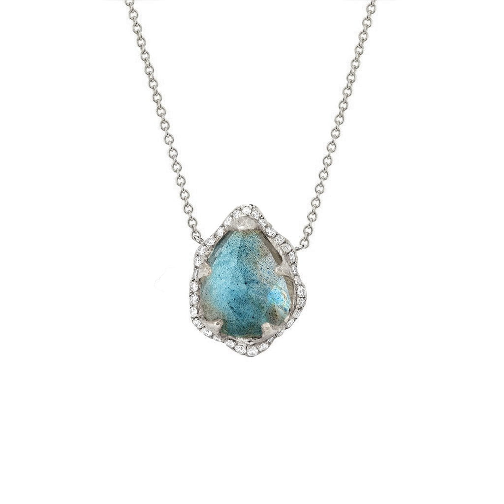 Baby Queen Water Drop Labradorite Necklace with Full Pavé Diamond Halo Baby Queen Water Drop Labradorite Necklace with Full Pavé Diamond Halo