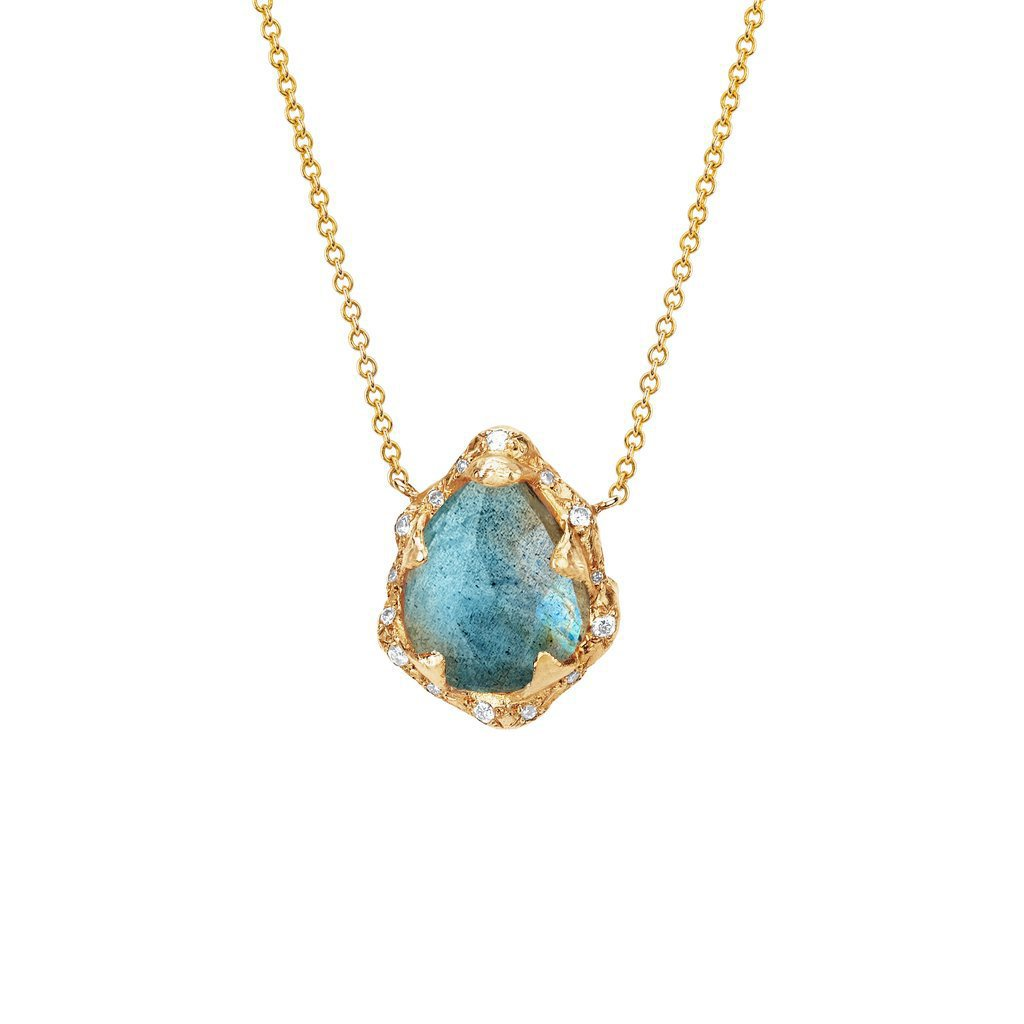 Baby Queen Water Drop Labradorite Necklace with Sprinkled Diamonds