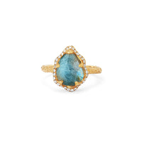 Baby Queen Water Drop Labradorite Ring with Full Pavé Halo Baby Queen Water Drop Labradorite Ring with Full Pavé Halo