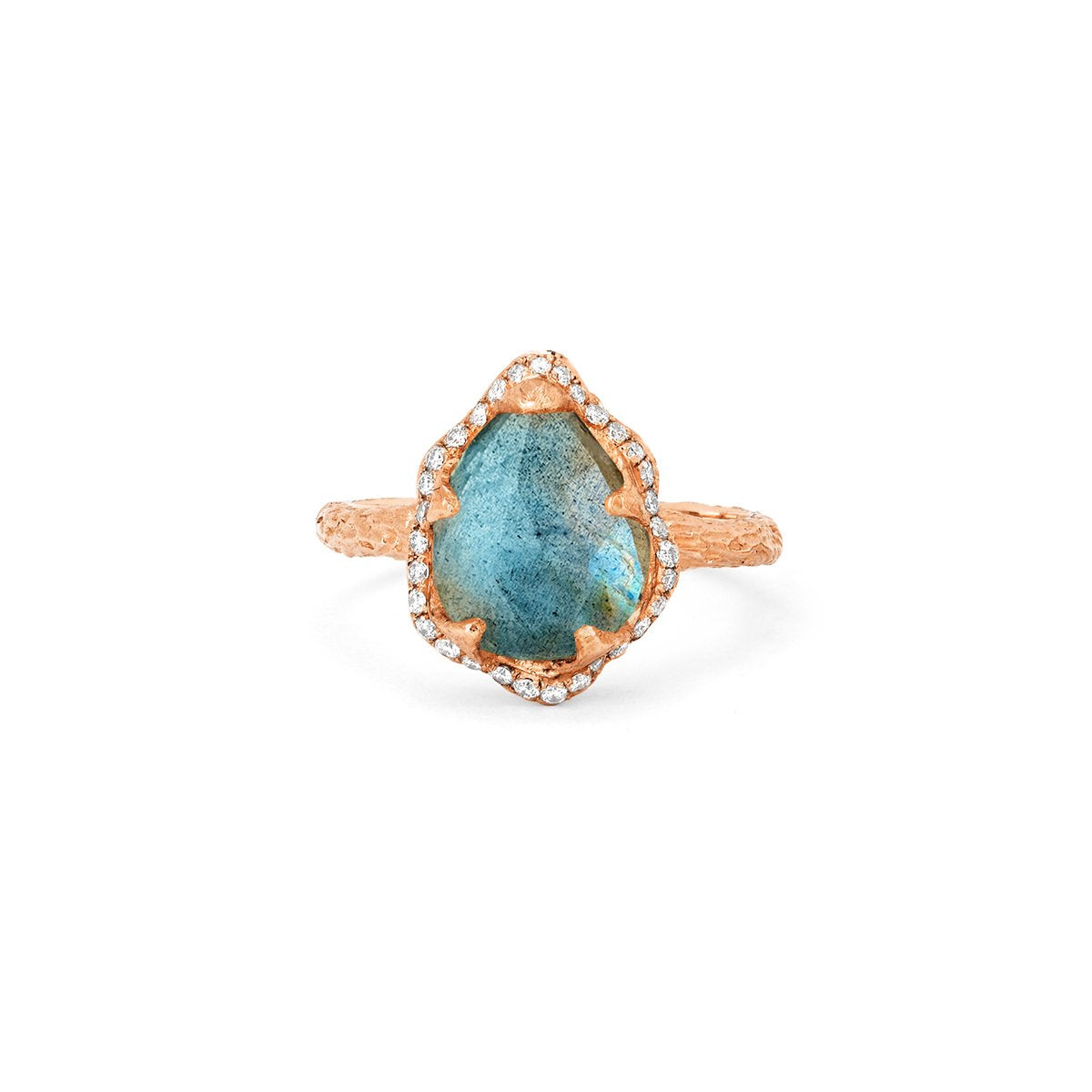 Baby Queen Water Drop Labradorite Ring with Full Pavé Halo