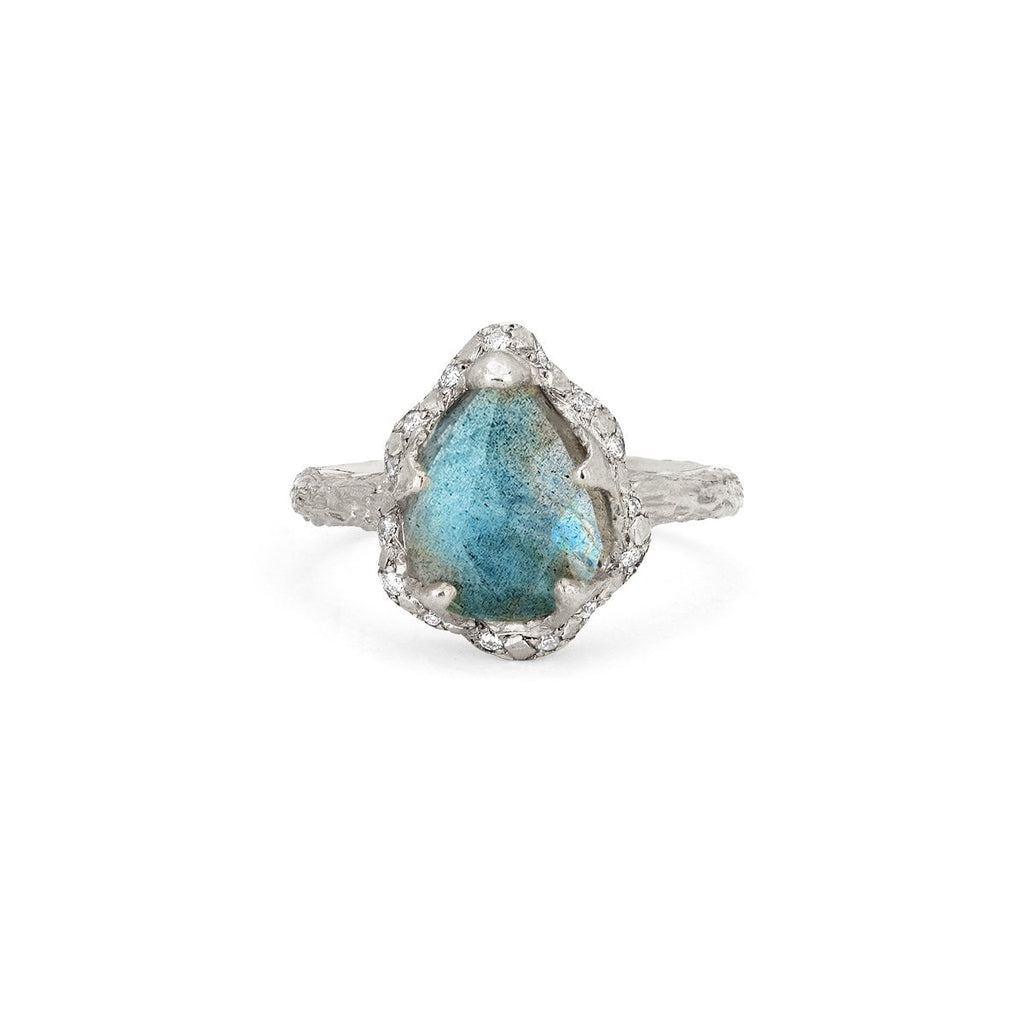 Baby Queen Water Drop Labradorite Ring with Sprinkled Diamonds Baby Queen Water Drop Labradorite Ring with Sprinkled Diamonds