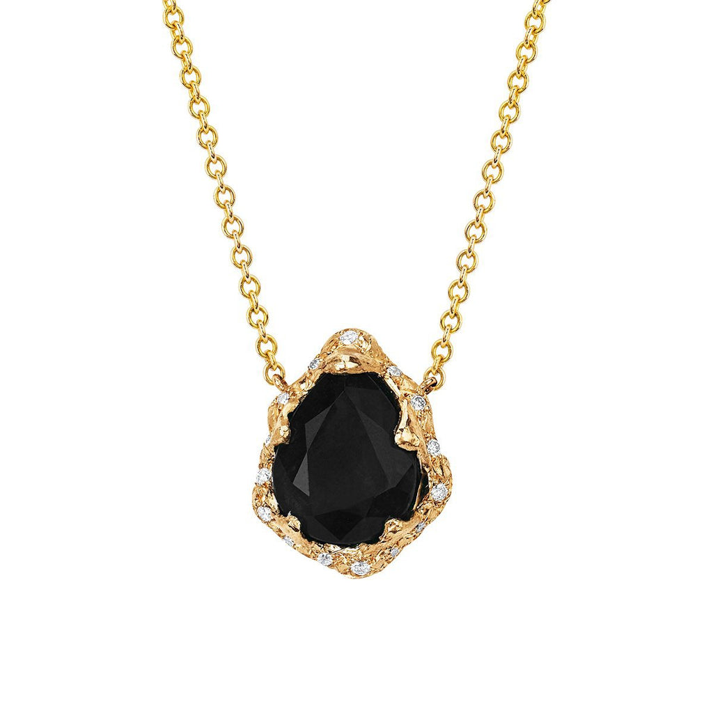 Baby Queen Water Drop Onyx Necklace with Sprinkled Diamonds Baby Queen Water Drop Onyx Necklace with Sprinkled Diamonds