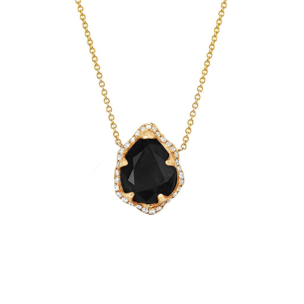 NEW! Baby Queen Water Drop Onyx Necklace with Full Pavé Halo NEW! Baby Queen Water Drop Onyx Necklace with Full Pavé Halo