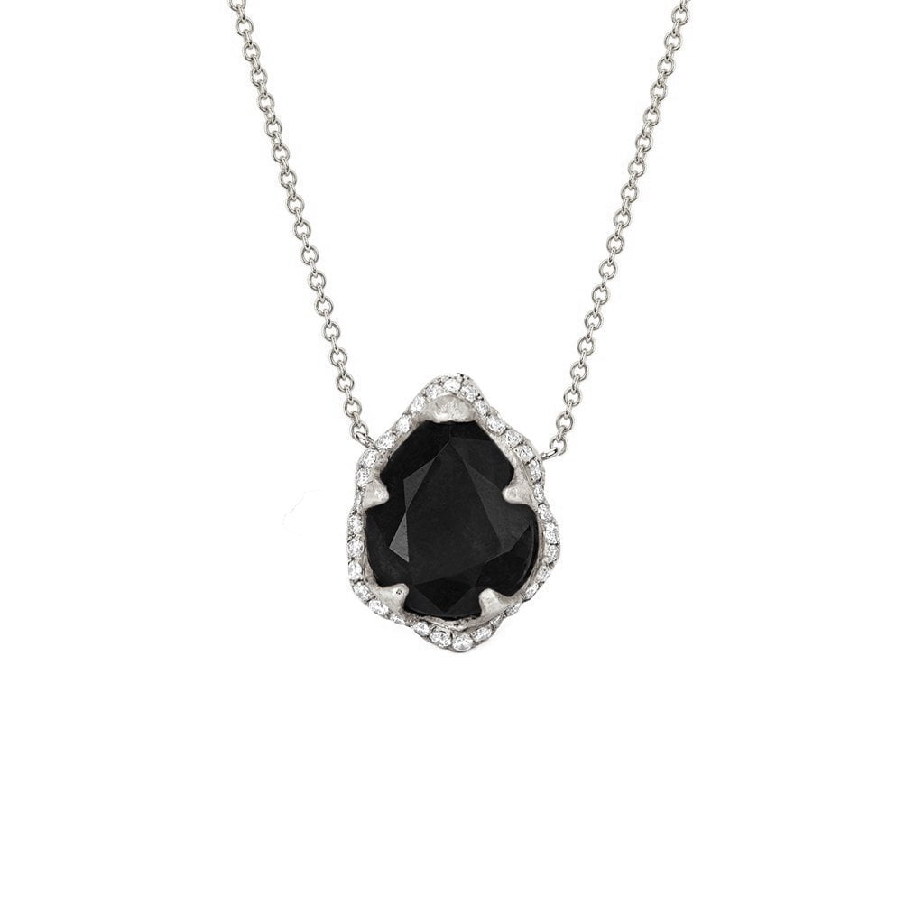 Baby Queen Water Drop Onyx Necklace with Full Pavé Diamond Halo