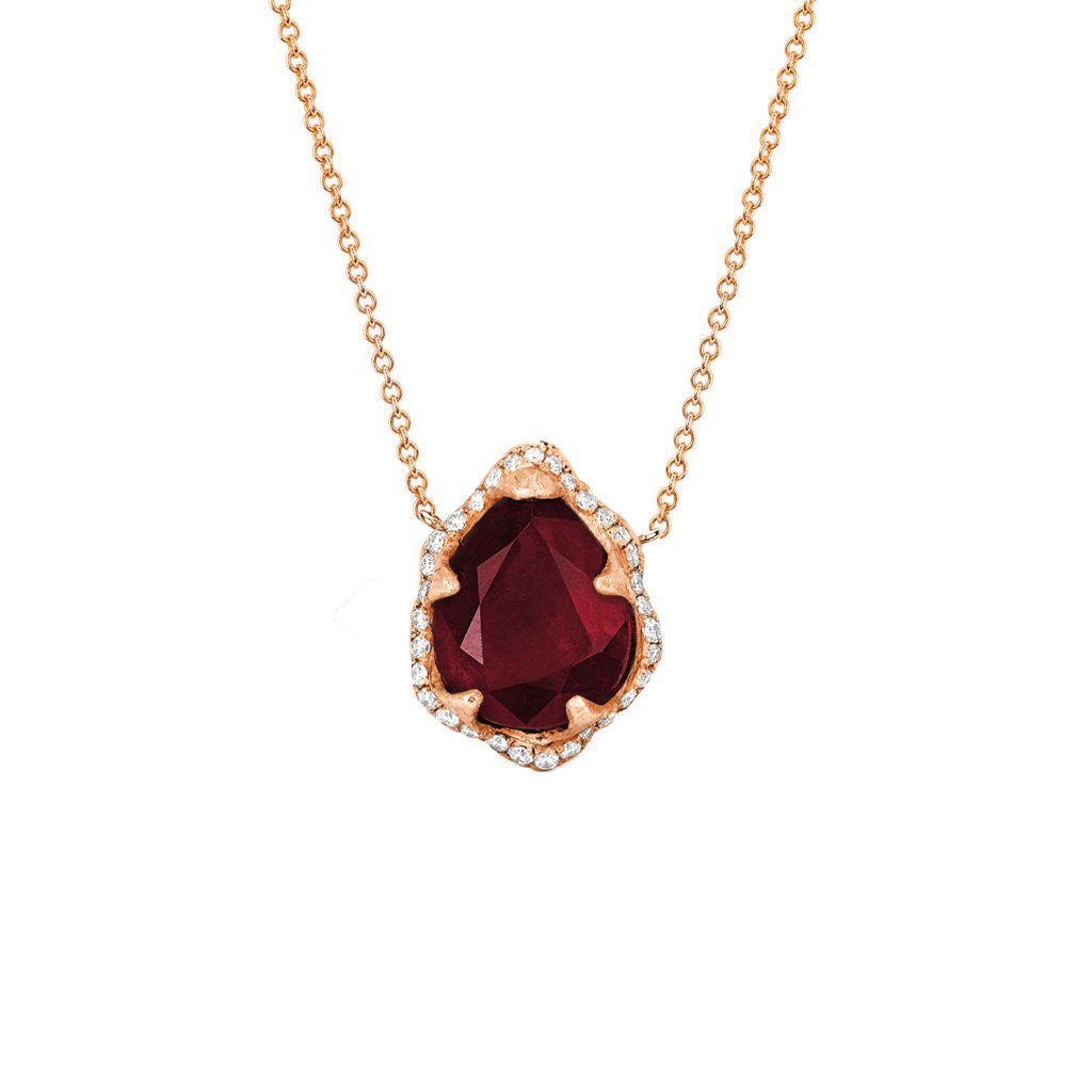 Baby Queen Premium Water Drop Ruby Necklace with Full Pavé Diamond Halo Baby Queen Premium Water Drop Ruby Necklace with Full Pavé Diamond Halo