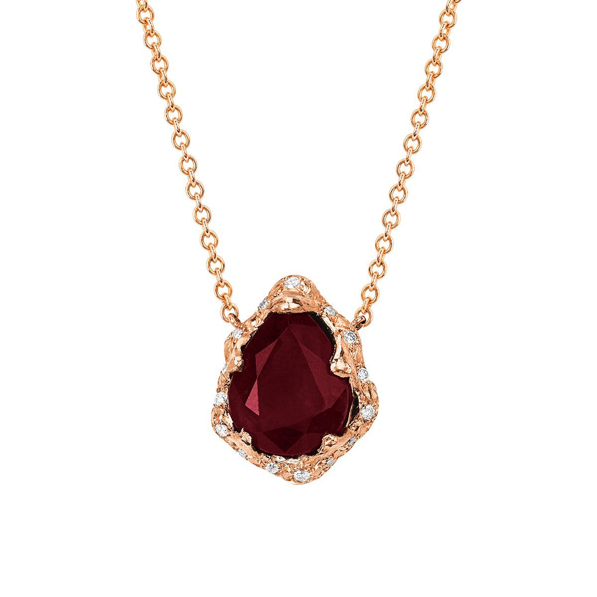 Baby Queen Premium Water Drop Ruby Necklace with Sprinkled Diamonds
