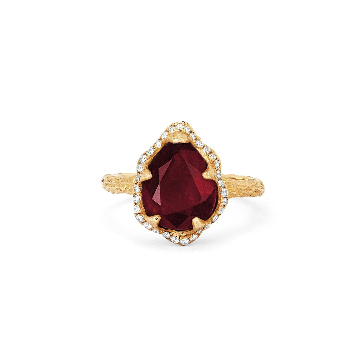 Baby Queen Water Drop Ruby Ring with Full Pavé Diamond Halo