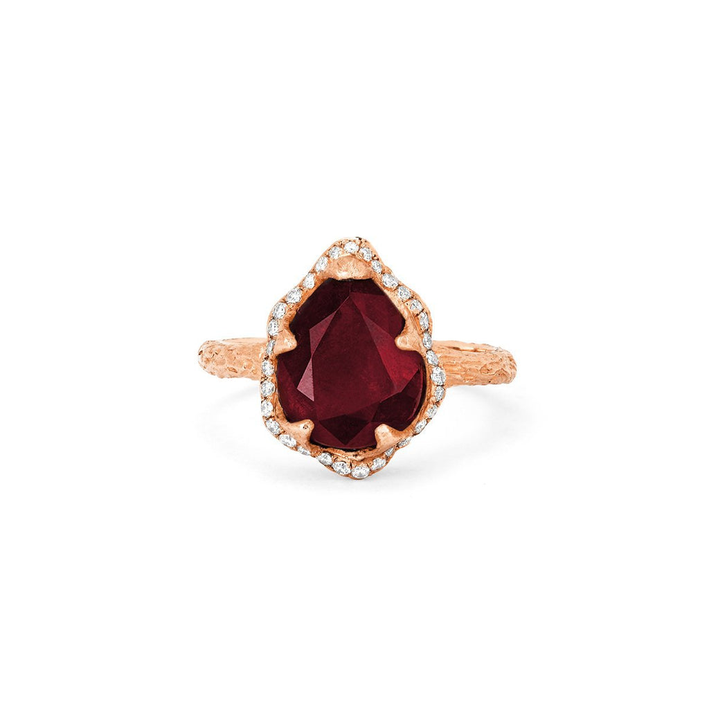 Baby Queen Water Drop Ruby Ring with Full Pavé Diamond Halo Baby Queen Water Drop Ruby Ring with Full Pavé Diamond Halo