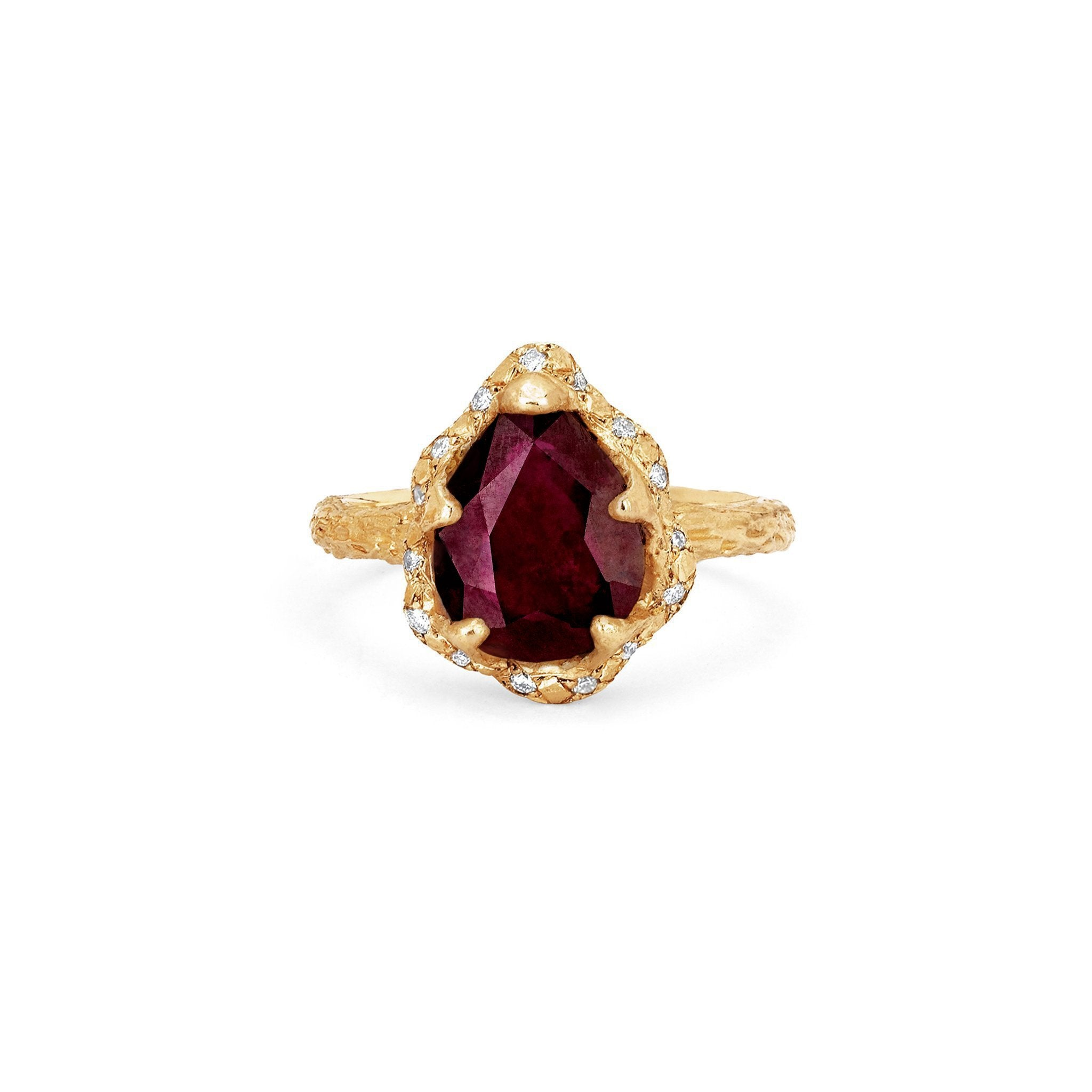 Baby Queen Water Drop Ruby Ring with Sprinkled Diamonds