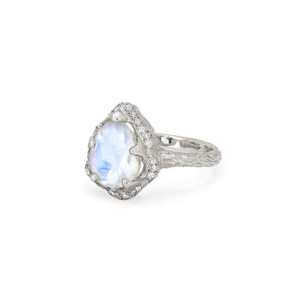 Baby Queen Water Drop Moonstone Ring with Sprinkled Diamonds
