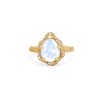 Baby Queen Water Drop Moonstone Ring with Sprinkled Diamonds Baby Queen Water Drop Moonstone Ring with Sprinkled Diamonds