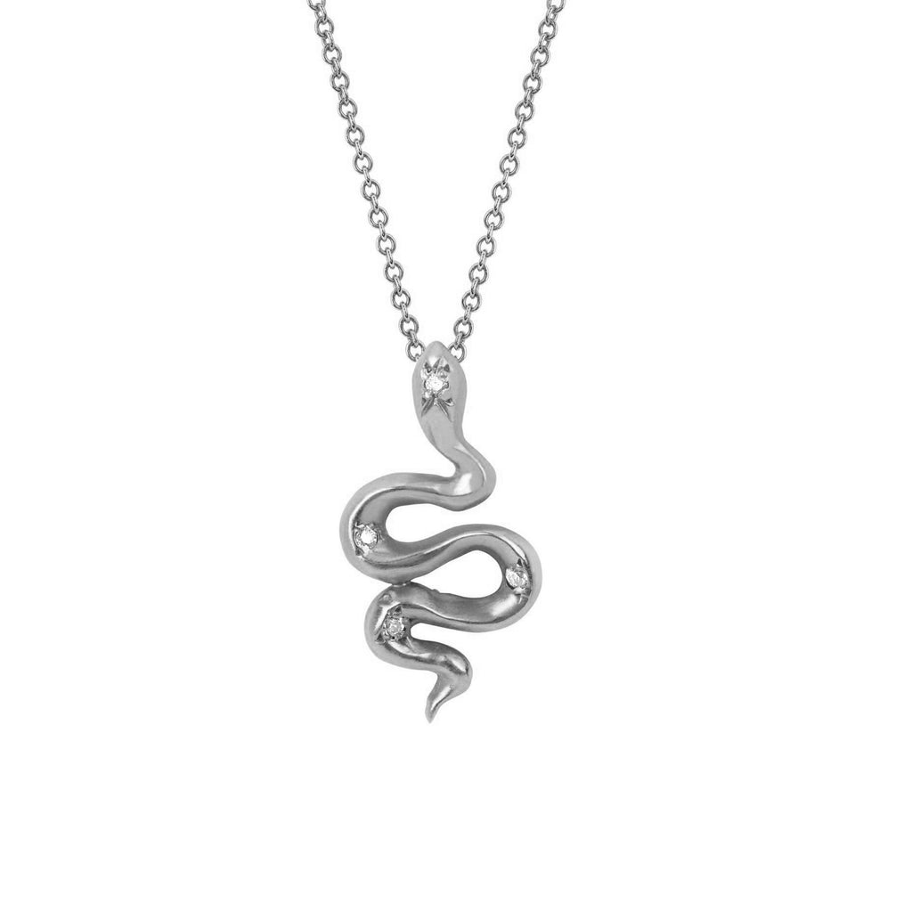 Kundalini Snake Pendant with Star Set Diamonds White Gold