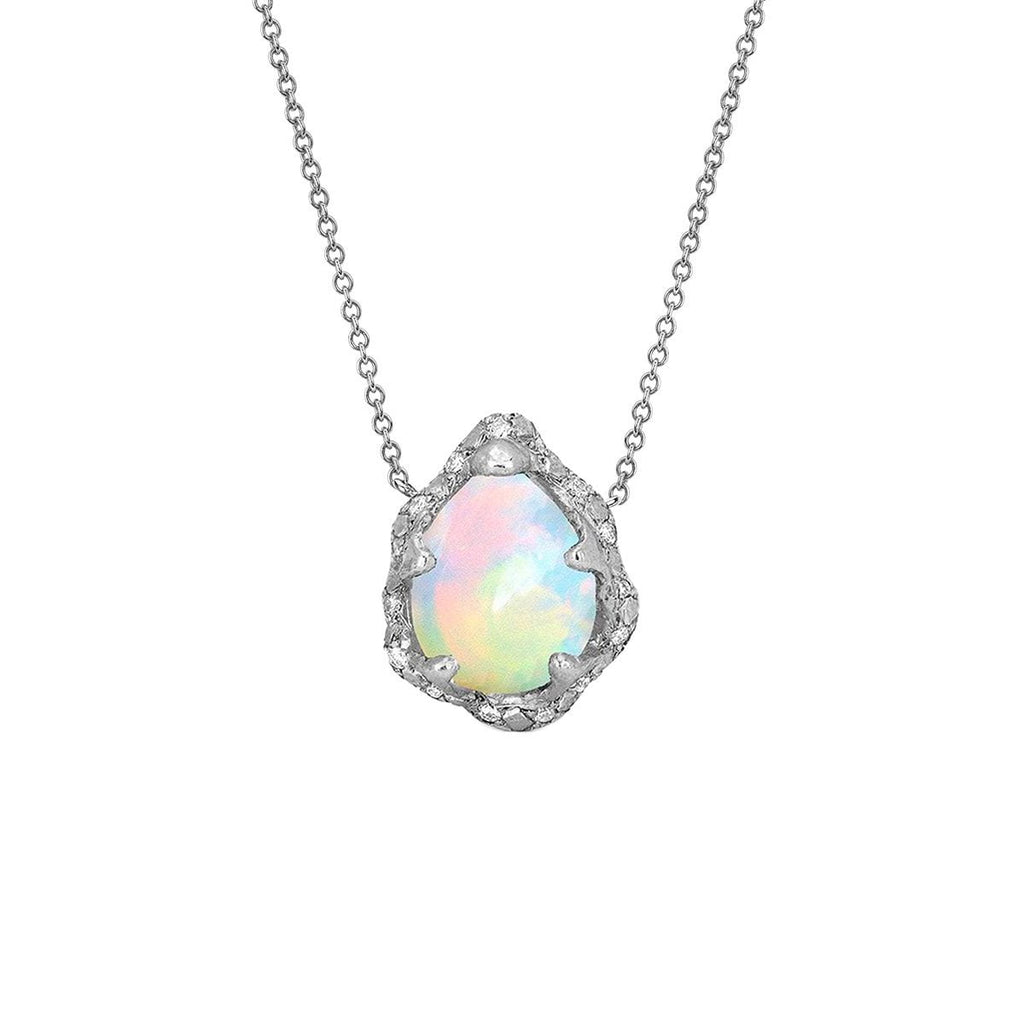 NEW! Baby Queen Water Drop White Opal Necklace with Sprinkled Diamonds NEW! Baby Queen Water Drop White Opal Necklace with Sprinkled Diamonds