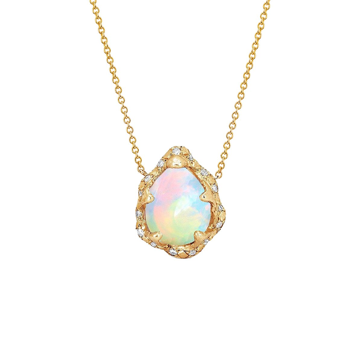 Baby Queen Water Drop White Opal Necklace with Sprinkled Diamonds