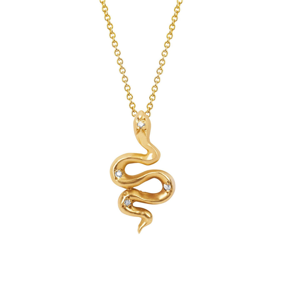 Kundalini Snake Pendant with Star Set Diamonds Yellow Gold