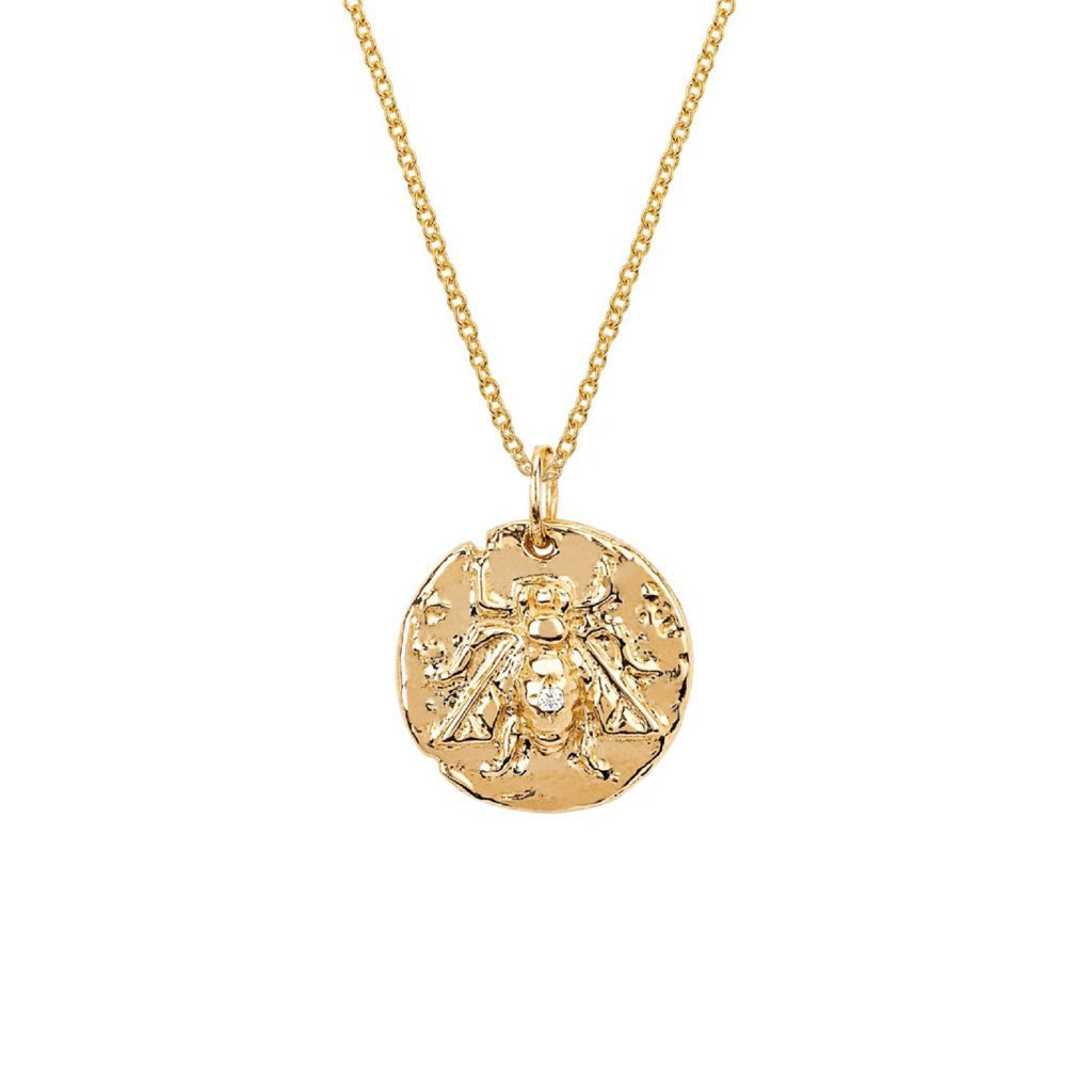 Baby Bee Coin Pendant with Single Diamond Baby Bee Coin Pendant with Single Diamond
