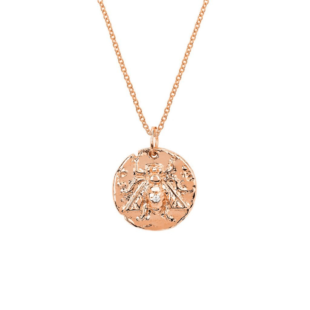 Baby Bee Coin Pendant with Single Diamond