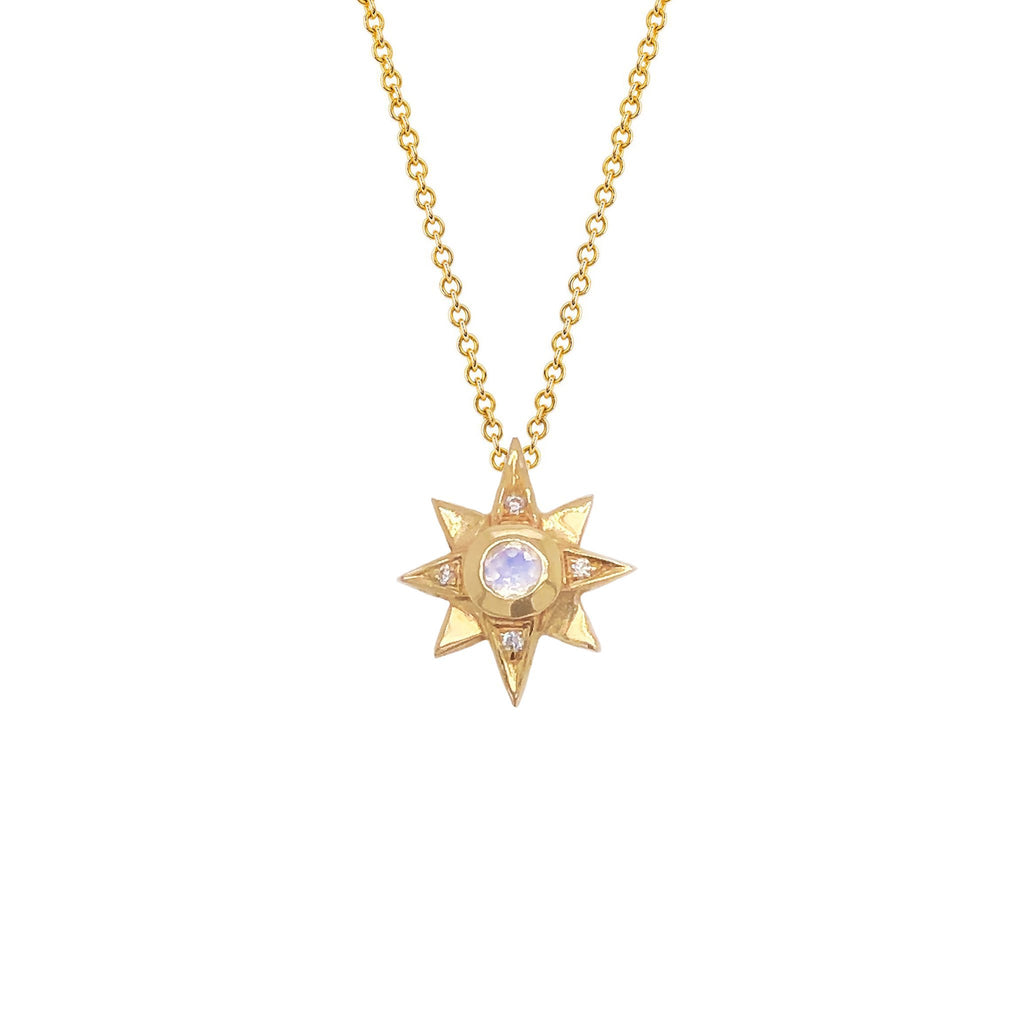 North Star Moonstone Necklace with Diamonds Yellow Gold