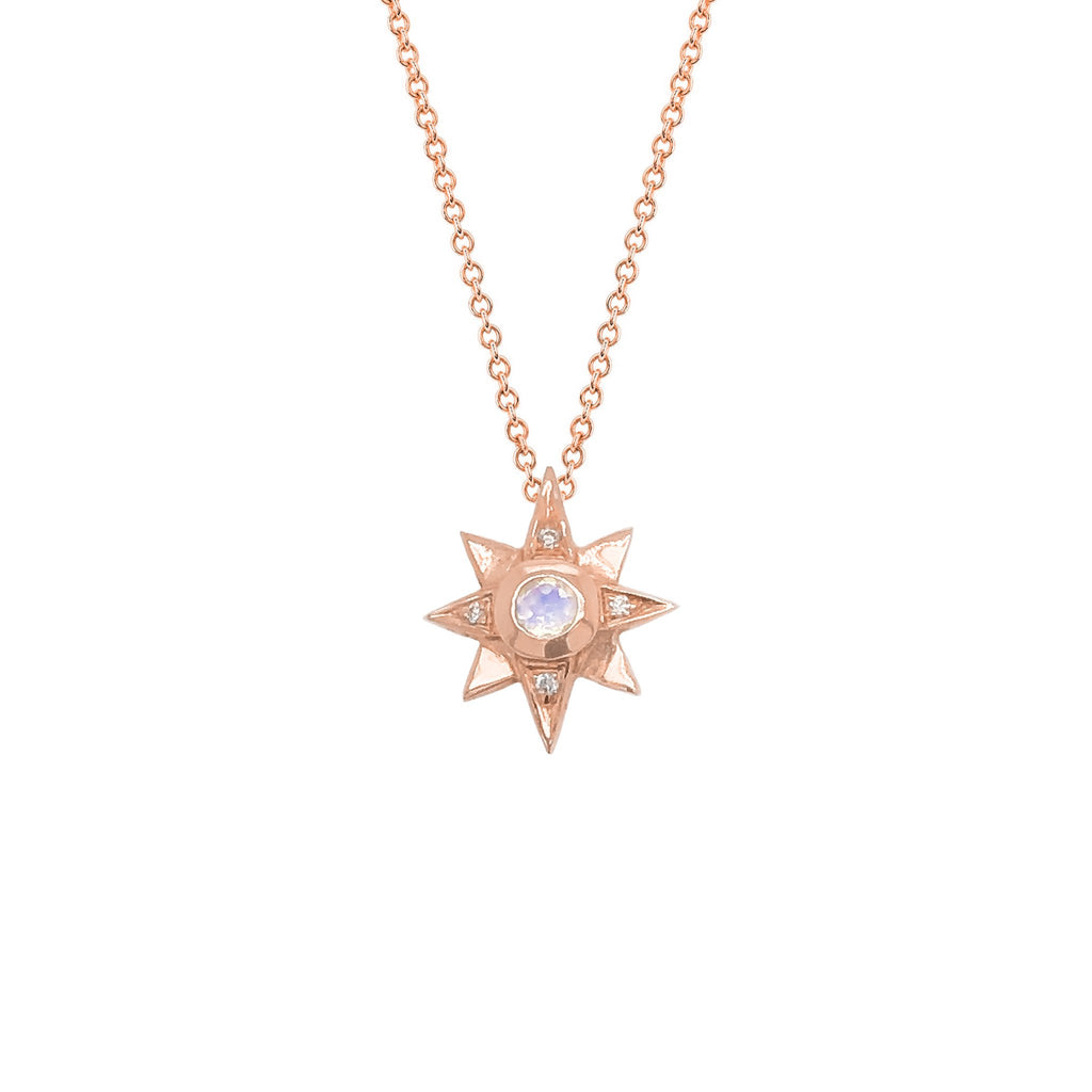 North Star Moonstone Necklace with Diamonds Rose Gold