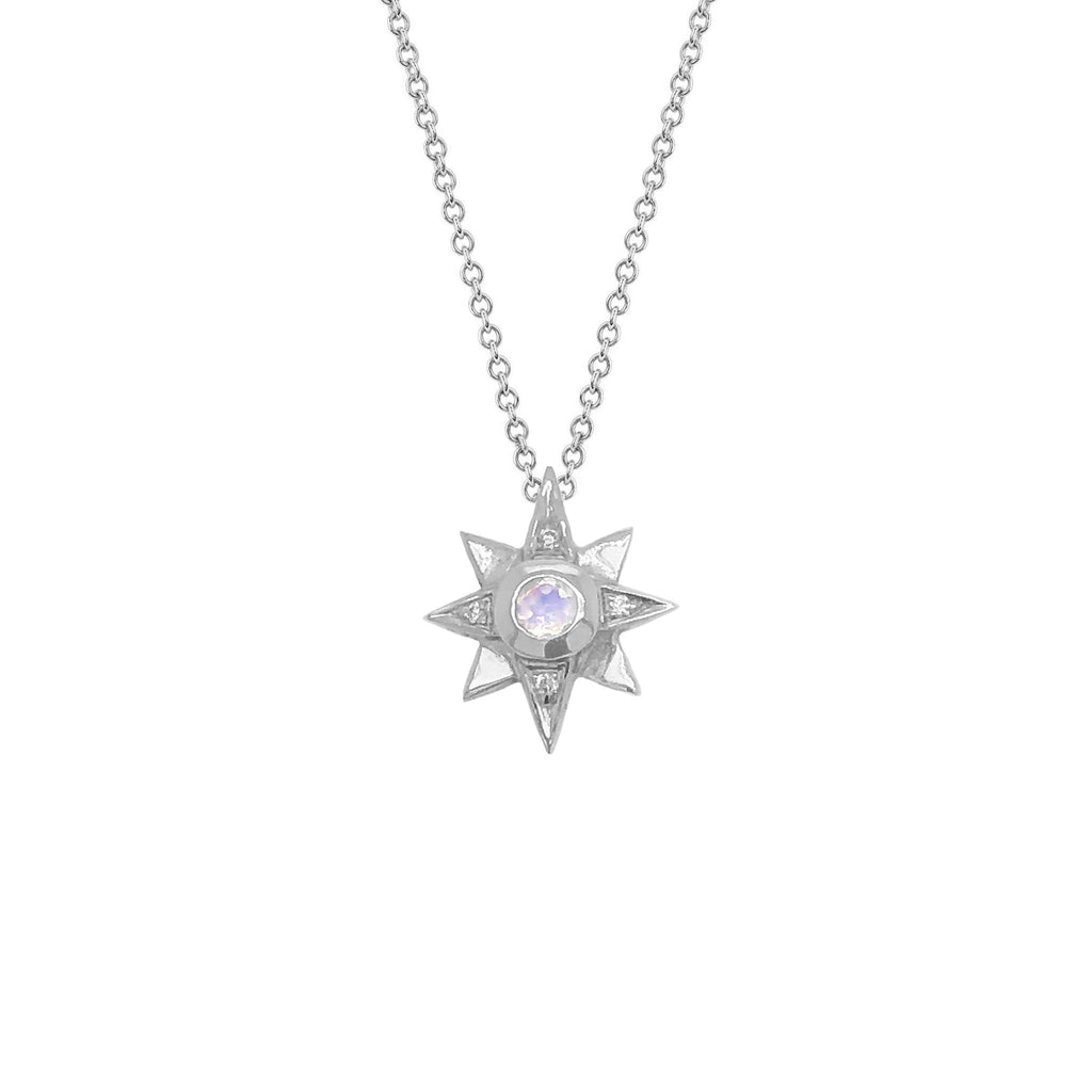 North Star Moonstone Necklace with Diamonds White Gold