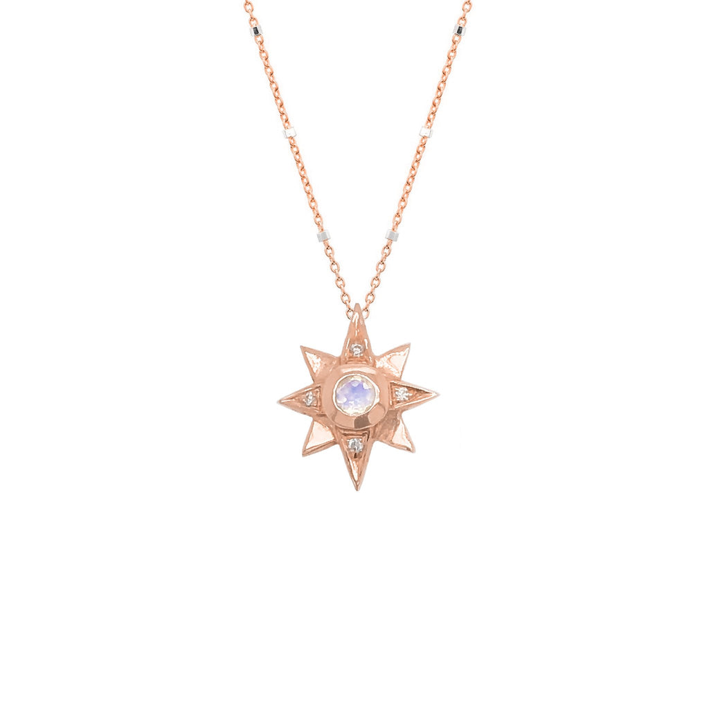 North Star Moonstone Necklace with Diamonds North Star Moonstone Necklace with Diamonds