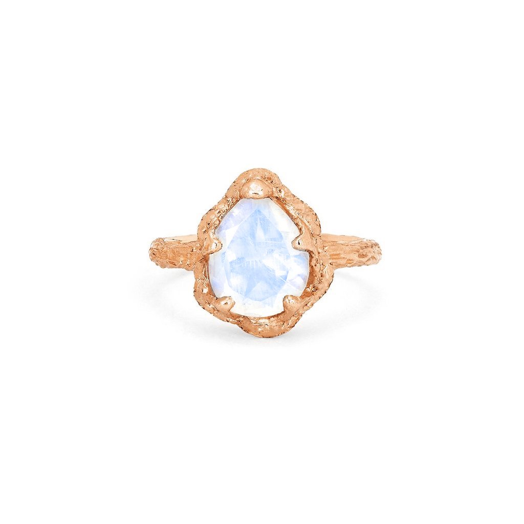 Baby Queen Water Drop Moonstone Solitaire Ring