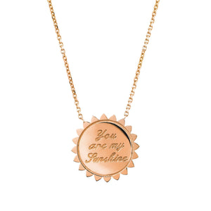Custom You are My Sunshine Medium Necklace SOLID