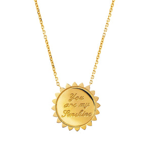 Custom You are My Sunshine Medium Necklace with Diamonds