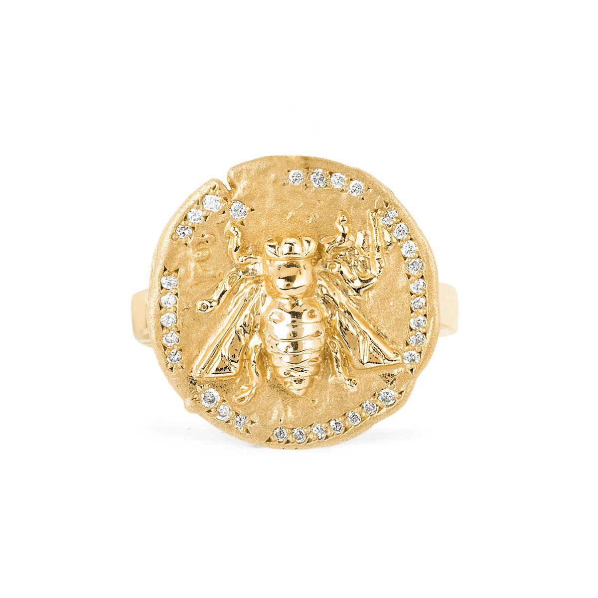 14k Sacred Honey Bee Coin Ring