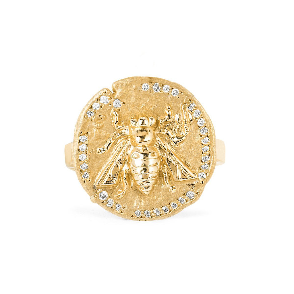 14k Sacred Honey Bee Coin Ring 14k Sacred Honey Bee Coin Ring