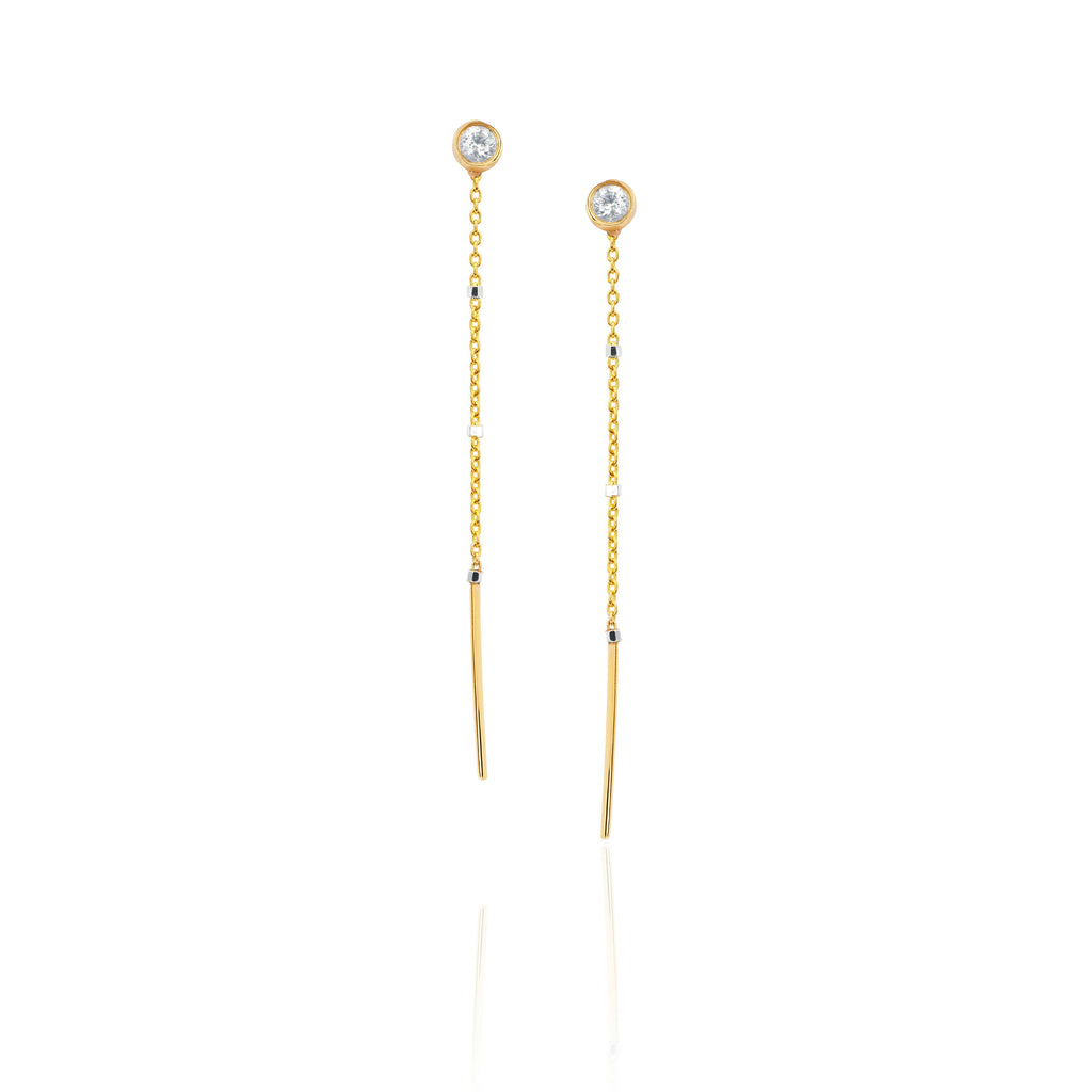 Shooting Star Half Thread Through Single Diamond Earrings Yellow Gold