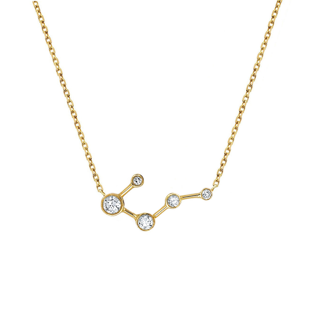 Big Dipper Diamond Constellation Necklace Yellow Gold