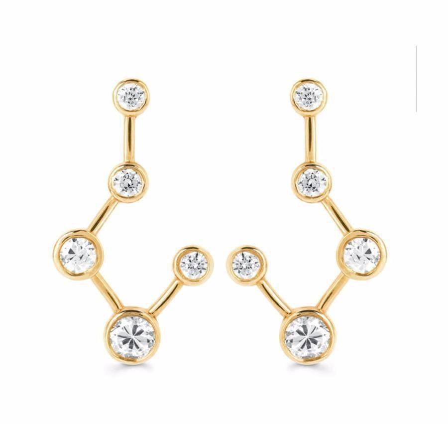 Large Big Dipper Constellation Earrings Yellow Gold