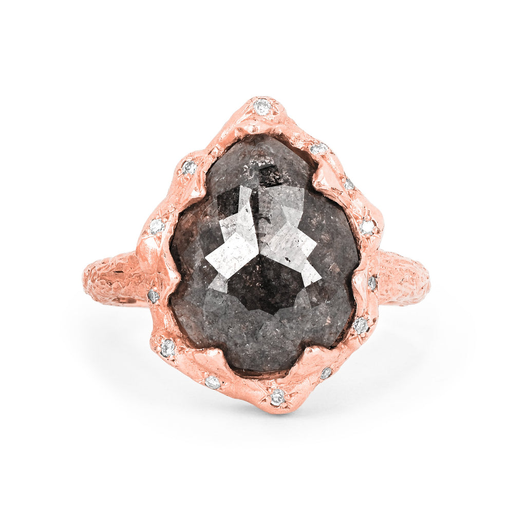 Water Drop Grey Diamond Queen Ring with Sprinkled Diamonds Rose Gold