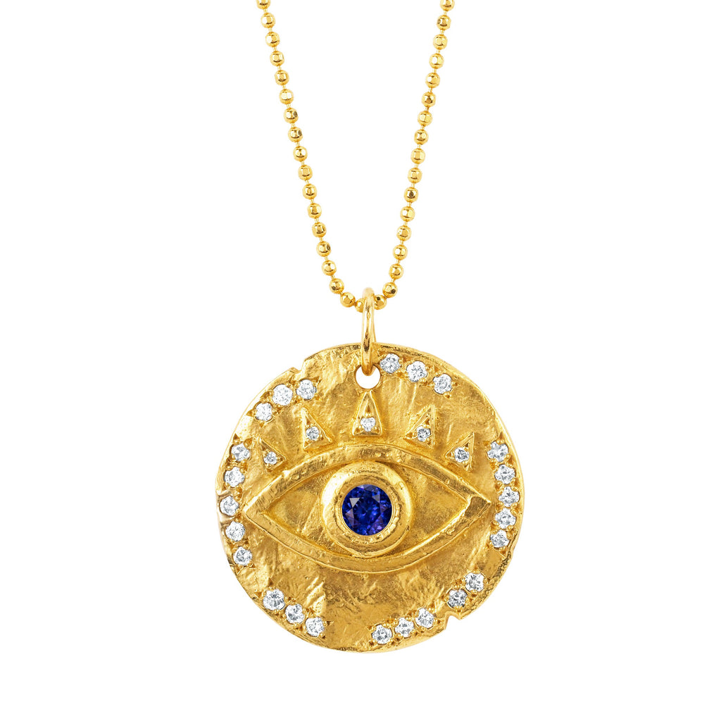 18k Sapphire Eye of Protection Coin Pendant Yellow Gold