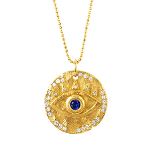 18k Sapphire Eye of Protection Coin Pendant