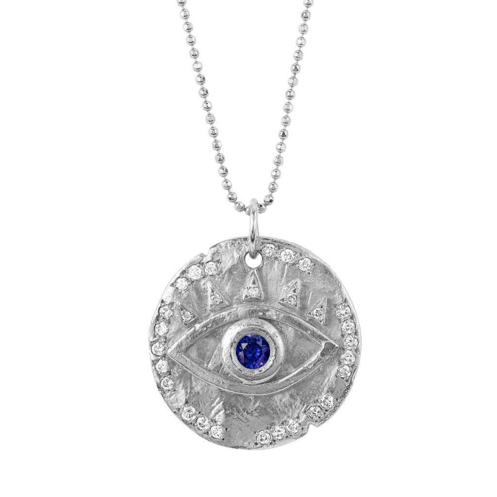 18k Sapphire Eye of Protection Coin Pendant White Gold
